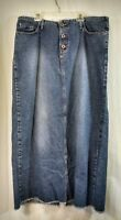 Vintage Hydraulic Long Denim Skirt Junior 15/16 Grunge  Frayed Hem Distressed