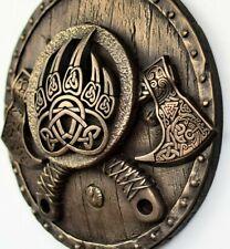 Viking axes shield bronze wall sculpture norse mythology home viking decor gift