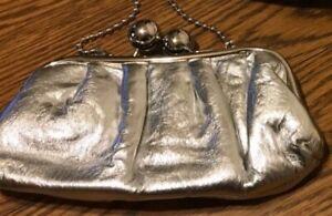 Womens Purse Clutch Silver  Silver Frame