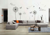 Wall Stickers Mural Decal Paper Art Decoration Black Dandelion Live Hope Quotes