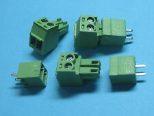 200 pcs Pitch 3.5mm 2way/pin Screw Terminal Block Connector Green Pluggable Type