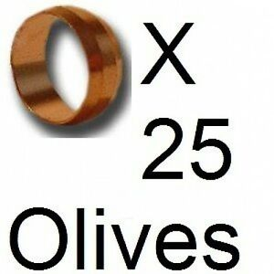 NEW 25 x 15mm Copper olives plumbing, gas, water pipe +