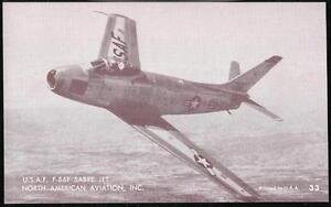 USAF F-86F SABRE JET North American Aircraft Vintage Arcade Exhibit Card #33