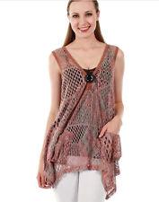 Lily by Firmiana Open Knit Bohemian Sleeveless Vest Top MAUVE Multi Size S