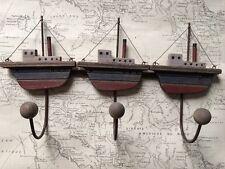 In Legno Nautico 3 Asciugamano Ganci Bianco Blu Rosso Bagno costiera barca nave
