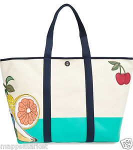 NWT Authentic TORY BURCH XL Penn Appliqué Canvas Tote in Natural $350