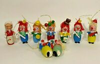 Vintage Wooden Clown and Mrs Clause Ornaments Lot of 9 Ornaments Made in Taiwan