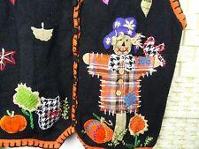 vintage Halloween cat cardigan costume jumper ugly cotton ramie scarecrow L