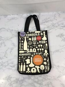 Saq 2 Wine Bottle Gift Bag Tote Sectional Shopping Red Black 9.5X13 Liquor O1