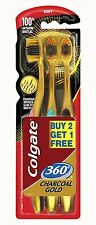 Colgate Toothbrush-360 Degree Charcoal Gold-Soft Bristles  (Pack of 3)