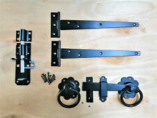 "Tee bisagra 10"" 250mm Kit de montaje de compuerta Anillo Pestillo de madera puerta de jardín conjunto Negro"