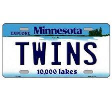 "Minnesota Twins Minnesota State Background Novelty Metal License Plate 6"" x 12"""