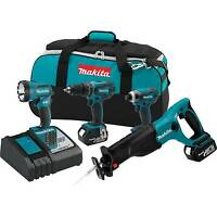 Makita 18V LXT 3.0Ah Lithium-Ion Cordless 4 Piece Combo Kit with Battery XT407