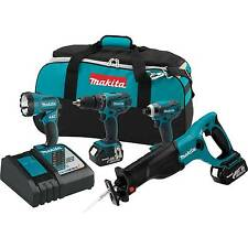 Makita 18V LXT 3.0Ah Lithium-Ion Cordless 4 Piece Combo Kit with Battery | XT407