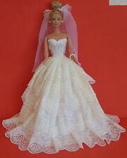 BARBIE SINDY DOLL DRESS BRIDE WEDDING GOWN, VEIL, 5 LAYERS LACE, CREAM,BEAUTIFUL