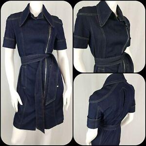Escada Denim Utility Dress Size 12-14 Asymmetric Zipper Dagger Collar Silk Blend