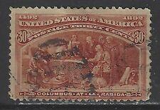 U.S. Used Scott #239 30 Cent Columbian Orange Brown 1893