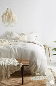 NEW Anthropologie Relaxed Cotton-Linen FULL Duvet Cover Natural