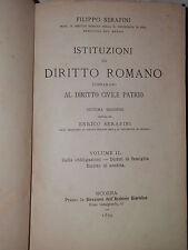 ISTITUZIONI DI DIRITTO ROMANO Vol 2 Serafini Direzione Archivio Giuridico 1899