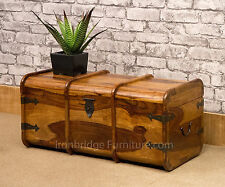 Solid Wood Indian Sheesham Jali Mariners Chest Storage Trunk Blanket Box Size 2