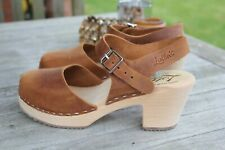 New - Lotta from Stockholm Highwood Brown Oiled Nubuck Leather Clog - Size 41