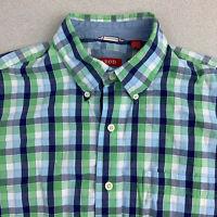 Izod Button Up Shirt Mens Medium Green Blue Check Short Sleeve Casual