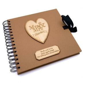 Mrs and Mrs Personalised Brown Wedding Guest Book Wooden Engraving