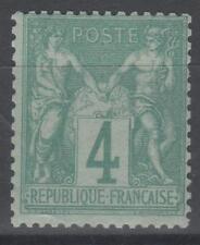 "FRANCE STAMP TIMBRE N° 63 "" TYPE SAGE 4 c VERT 1876 "" NEUF xx TB SIGNE   N358"