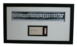 Framed Display w/SGC 3x5 Autograph of Joe Wood & 1920 C. Indians Panoramic Print