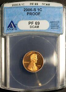 2006-S 1C Lincoln Head Wheat Cent PF 69 DCAM ANACS 70013153 + Bonus