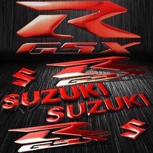 """5.75""""ABS Logo+Letter Decal+6.25"""" GSXR Fairing Emblem Sticker Suzuki Chromed Red"""