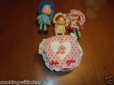 VINTAGE RARE AMERICAN GREETINGS STRAWBERRY SHORTCAKE DOLLS & CLOTH CASE TOYS