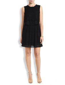 Lucky Brand Black Cotton Blend Elastic Waist Sleeveless Lace Overlay Dress SZ XS