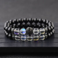 Luxury Micro Pave CZ Balls Crown Charm Natural Moonstone Onyx Stone Bracelets