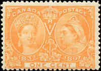 1897 Mint H Canada F Scott #51 1c Diamond Jubilee Issue Stamp