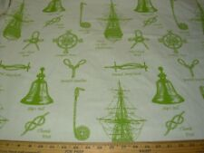 4 6/8 Yds Nautical Ship Instruments Woven Drapery Upholstery Fabric For Less