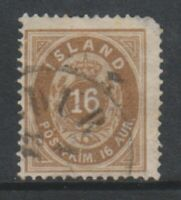 Iceland - 1876/95, 16a Yellow-Brown stamp - Used - SG 17a