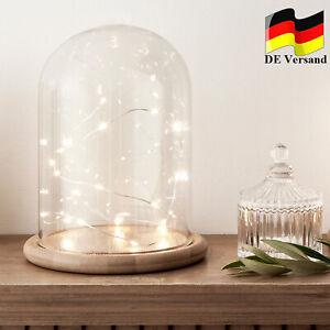 Glasglocke 20cm Glashaube Holzteller Hochzeits Muttertags Deko Glaskuppel LED DE