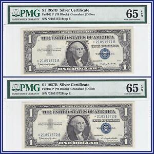 Consecutive Star 1957B $1 Silver Certificate Dollars (2) PMG 65 EPQ Gem Unc