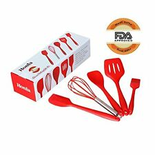 Sorbus 5-Piece Kitchen Red Silicone Baking Utensils Set