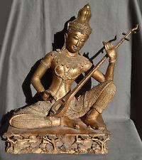 Statue en bronze de musicien de cour jouant du sanxian, Thaïlande XX eme