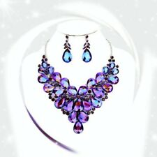 PURPLE AB  RHINESTONE  Crystal Teardrop Cluster Evening Necklace W/ EARRINGS
