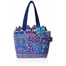 "Laurel Burch Medium Tote Zipper Top 12""x3.5""x8.5""-tres Gatos - Blue & Gold"