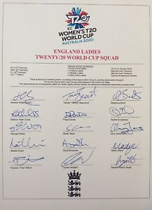 2020 T20 Women's Cricket World Cup SIGNED England Squad! Knight, Beaumont. PROOF