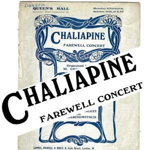 1921 Feodor Chaliapin Queen's Hall concert programme Chaliapine Mannucci cellist