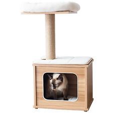 New listing Catry, Wooden Cat Tree Condo with Natural Sisal Rope Scratching Post