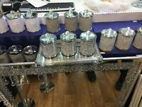 CRUSHED STUNNING DIAMOND SILVER FILLED TEA COFFEE SUGAR CANISTERS JARS NEW_UK
