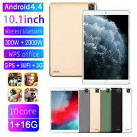 """10.1"""" Inch Tablet PC HD Android 4.4 1+16GB WIFI Dual SIM Camera GPS Phablet UK"""