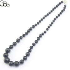 6-14mm Round Black Tourmaline Gemstone Beads Sterling Silver Jewelry Necklace