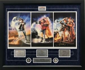 Back to The Future Trilogy Movie Poster Print Signed Michael J Fox Artist Framed